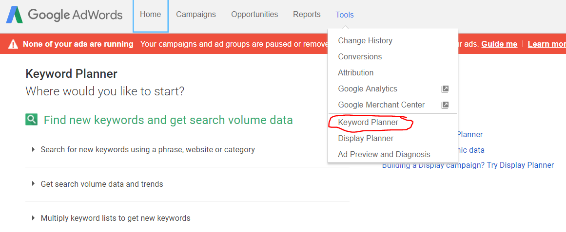 adwords home screen