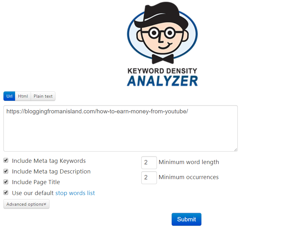 keyword analyzer 1 - free SEO tools